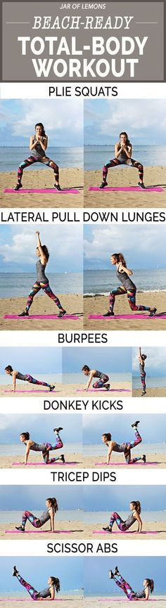 beach-ready with this fat burning and toning total-body workout! No equipment needed! :)Get beach-ready with this fat burning and toning total-body workout! No equipment needed! Summer Body Workouts, Beach Workouts, Lower Ab Workouts, Body Workout At Home, Butt Workout, At Home Workouts, Step Workout, Workout Routines, Workout Ideas