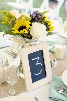 Chalkboard table numbers & flowers