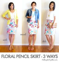 One Piece Many Ways Floral Pencil Skirt - 3 ways Style tips, fashion trick Lula Roe Outfits, Mode Outfits, Work Fashion, Modest Fashion, Putting Me Together, Floral Pencil Skirt, Pencil Skirts, Pencil Dresses, Floral Skirts