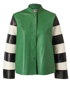ACNE | Leather Jacket with Striped Sleeves