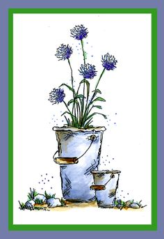 Pail of Flowers Card Pen And Watercolor, Watercolor Flowers, Watercolor Paintings, Watercolors, Art Impressions Stamps, Copics, Flower Cards, Painting & Drawing, Making Ideas