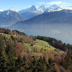 View of Eiger, Mönch and Jungfrau from Beatenberg; with Lake Thun #bestofswitzerland