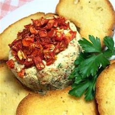 Sun-dried Tomato Goat Cheese Spread With Soft Goat Cheese, Sun-dried Tomatoes, Garlic, Fresh Parsley Sun Dried Tomato Spread Recipe, Goat Cheese Spread Recipe, Goat Cheese Recipes, Mushroom Recipes, Appetizer Recipes, Appetizers, Appetizer Ideas, Dried Tomatoes, Creative Food