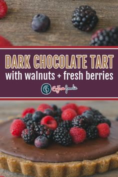 Are you ready for your new favorite dessert? This Dark Chocolate Tart with Walnut Crust is piled high with fresh berries, adding a touch of tart and sweet to the divinely rich filling. Guests will never believe it's a grain-free, dairy-free + Paleo-Friendly dessert! #glutenfree #gfreefoodie #dessert @cagrown Paleo Dessert, Gluten Free Desserts, Dessert Recipes, Gluten Free Chocolate, Chocolate Recipes, Grain Free, Dairy Free, Divine Chocolate, Healthy Sweet Treats