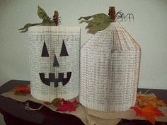 Recycled Book Jack-o-lanterns - rub an old orange stamp pad on edges for an antique look. Vintage Halloween, Fall Halloween, Halloween Crafts, Halloween Decorations, Book Crafts, Paper Crafts, Paper Art, Cut Paper, Fall Sewing Projects