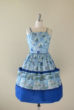 Vintage 1960s Dress  Sea Scape Novelty Print by Sweetbeefinds, $168.00