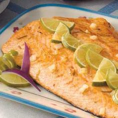 Garlic Lime Salmon organic health health tips health food healthy eating better health naturally Lime Salmon Recipes, Healthy Salmon Recipes, Fish Recipes, Seafood Recipes, Cooking Recipes, Cooking Food, Cooking Tips, Recipies, Fish Dishes
