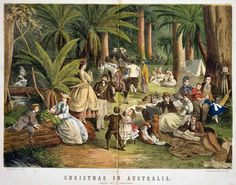 A coloured wood engraving of a scene titled 'Christmas in Australia', from 1865