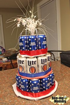 A baby is brewing beer can cake tutorial. Great for a beer & diaper party or birthday. You can also use soda cans. Soda Can Cakes, Beer Can Cakes, Soda Cake, 21st Birthday Cake For Guys, Diy Birthday Cake, Birthday Cake Decorating, Birthday Beer, Birthday Ideas, Birthday Gifts