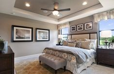 Transitional Master Bedroom with flush light, Carpet, High ceiling, Ceiling fan, Dakota Grey Fabric