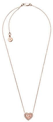 """Michael Kors Rose Goldtone Heart Logo Pendant Necklace - From the Valentine's Day Collection A bold heart- shaped logo charm pendant with a pav crystal halo Glass, cubic zirconia, acetate Rose goldtone Length, about 16"""" with a 2"""" extender Lobster clasp closure Imported"""
