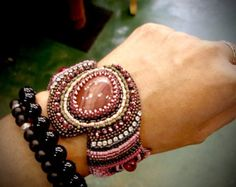 Little angel Bead Embroidery Bracelet by ARTSTUDIO51 on Etsy