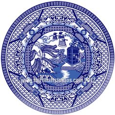 "Whoville ""blue willow"" plate « Third Half Studios (saw these in a booth at the festival yesterday and didn't realize it was doctor who at first, so cool! Blue Willow China, Blue China, White China, Tardis Blue, Willow Pattern, China Patterns, Dalek, Doctor Who, Nerdy"