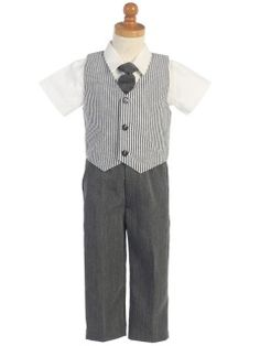 Charcoal Seersucker Vest  amp  Pants Set- with a pretty pink bow tie. 63c4dbf5f