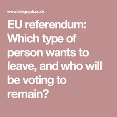 EU referendum: Which type of person wants to leave, and who will be voting to remain?