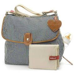 Babymel Navy Satchel Stripe Nappy Bag