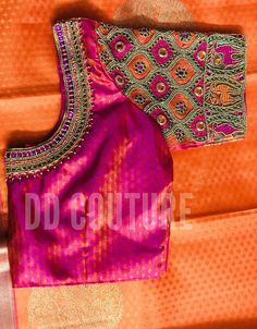 Vibrant blouse hand made with contrasting stone-work. The sleeve design is made to complement the saree patterns and goes well with Kanchipuram silk sarees. The design can be modified as per your saree design. Customize this blouse in Raw silk/silk materials today! We can accommodate