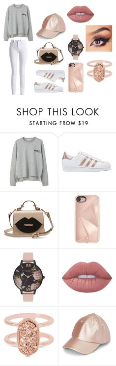 """Rose Gold Set"" by dinneenc ❤ liked on Polyvore featuring MANGO, adidas Originals, Rebecca Minkoff, Olivia Burton, Lime Crime, Kendra Scott, Simons and Barbour International"