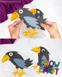 This cute and easy crow is a fun fall craft for kids! It's simple to make and uses basic craft supplies so you don't have to run to the store to get special materials. Download the free template and make with your kids or students today! Halloween Crafts For Toddlers, Animal Crafts For Kids, Easy Christmas Crafts, Halloween Crafts For Kids, Toddler Crafts, Preschool Crafts, Diy Crafts For Kids, Spooky Halloween, Bird Crafts