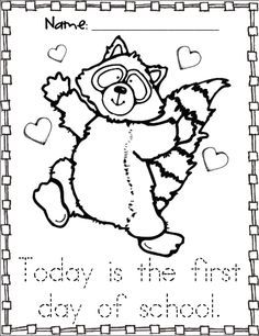 Kissing Hand activities: FREE Chester the raccoon coloring page. First day of school with The Kissing Hand story.