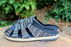 Slip On Tribal Mens Shoes in Ethnic Hmong Embroidery And Batik Slides Summer Shoes - Reese by SiameseDreamDesign on Etsy https://www.etsy.com/listing/184775682/slip-on-tribal-mens-shoes-in-ethnic