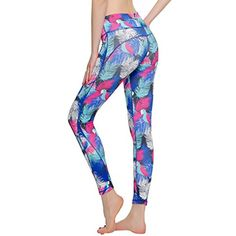TRYSIL Women's Yoga Pants Leggings Printed Middle Waist Tights Tummy Control Fitness with Hidden Pocket for Running and Workout * Check this awesome product by going to the link at the image. (This is an affiliate link) #Clothing
