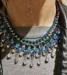 LLD Jewellery Crystal Bead Drop Turqouise Teal Fabric Necklace Collar Celeb Blog