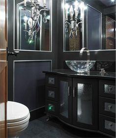 Dramatic Transitional Bathroom by Ines Hanl