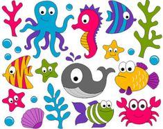 Under The Sea Clip Art - Ocean Digital ClipArt - Fishes, Whale, Crab, Seahorse… Scrapbook Kit, Scrapbooking, Art Clipart, Clip Art, Diy And Crafts, Crafts For Kids, Sea Plants, Cute Fish, Scrapbooks