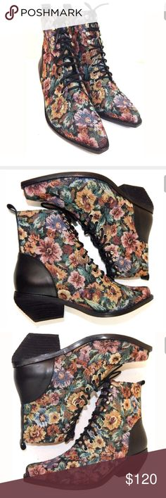 Jeffrey Campbell Elmcroft Tapestry Granny Boots Lace up boots with a vintage vibe by Jeffrey Campbell. Never worn but have a few tiny scuffs on the soles and one on the heel from storage. Size 6. No trades. Jeffrey Campbell Shoes Ankle Boots & Booties