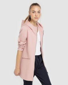 Abrigo de mujer Only rosa con capucha Moda Online, Duster Coat, Dressing, Jackets, Fashion, Pink Coats, Hooded Coats, Coats And Jackets, Cowls