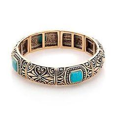 Studio Barse TurquoiseBronze Stretch Bracelet