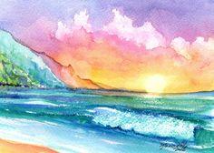 puesta de sol atardeceres tropicales impresión 5 x 7 arte