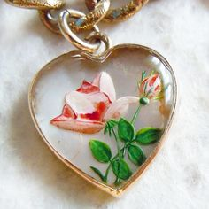 Vintage reverse-painted enamel gold bubble heart charm ~ A Genuine Find