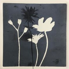 Monoprint Monday, using stencils cut from Yupo paper #printmaking #almostspring