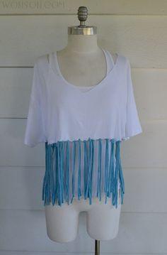 WobiSobi: Color Block No Sew, Fringe Shirt DIY
