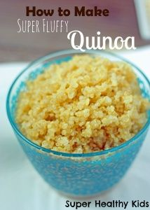 How to Cook Super Fluffy Quinoa  ... Rinse .... Add 1 tsp oil to pot and add wet quinoa. Toast for 1-2 minutes until dry ... Add liquid. It's 2 cups water for 1 cup quinoa .... Bring to a boil, reduce heat and simmer COVERED for 15 minutes (no peeking) ... Take off heat and let stand 5 minutes (no peeking) .. Open lid and fluff