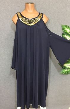 bba012bc4f7 Mlle Gabrielle NEW Navy Blue Cold Shoulder Dress 3X Gold Bead Embellished  Tunic  MlleGabrielle