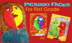 Picasso Faces for first grade from DSS. Start by looking at Picasso's art (cubism) & discuss 3D aspects. Kids draw a large head, neck & smaller body in black oil pastel. They then paint the head in at least 2 colours- do not add facial features. Also paint neck & body, don't worry about background. When dry cut it out & glue onto coloured card. Draw eyes, nose & mouth on separate pieces of paper & glue on later