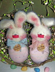 Primitive Bunny Rabbit Easter Spring Egglet by PrimitivelyPrecious, $11.95