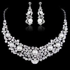 Bridesmaid Bridal Faux Pearl Rhinestone Crystal Clear Necklace Earrings Set