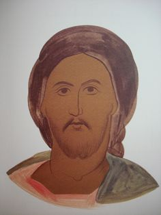 Face of Christ. Style of Theophanes. Stage 1.