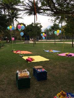 Blankets and Balloons Party At The Park, Birthday Party At Park, Picnic Birthday, Outdoor Birthday, Birthday Party Themes, 2 Year Old Birthday Party, Picnic Party Decorations, Picnic Parties, Picnic Baby Showers