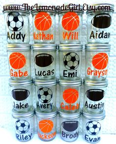 Set of Twelve 12 Eco Friendly Reusable Kid Sports Party Favor Mason Jars Football Soccer Basketball  by TheLemonadeGirl, $70.00
