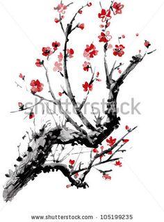 stock-vector-realistic-sakura-blossom-japanese-cherry-tree-isolated-on-white-background-vectorization-105199235.jpg (347×470)