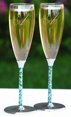 Flutes with Black & Aqua Seashell Stem (Hortense B Hewitt 11346) from Wedding Favors Unlimited.