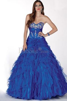 Enchanting Royal Blue Ball Gown Quinceanera Dress with Cascading Ruffles