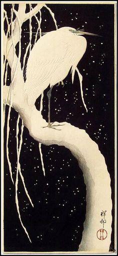 'Egret on a Snowy Branch', c. 1910-23, by Koson Ohara / Ohara Shoson