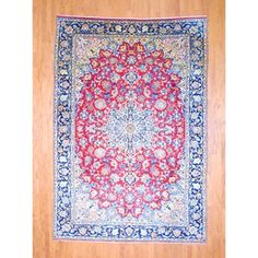 Persian Hand-knotted Isfahan Red/ Navy Wool Rug 8' x 11'7--------1399$$----------