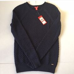 Navy Blue IZOD Sweater NWT IZOD navy blue sweater. I bought 3 colors and never wore this one. Super cute with jeans and some jewelry to glam it up! IZOD Sweaters